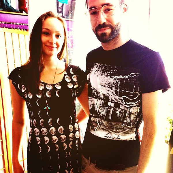 Moon phases dress and Nikola Tesla shirt