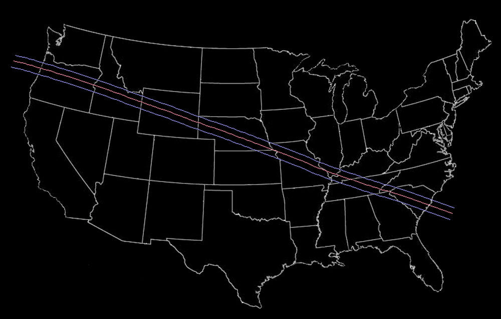 Total Solar Eclipse Map 2017 USA