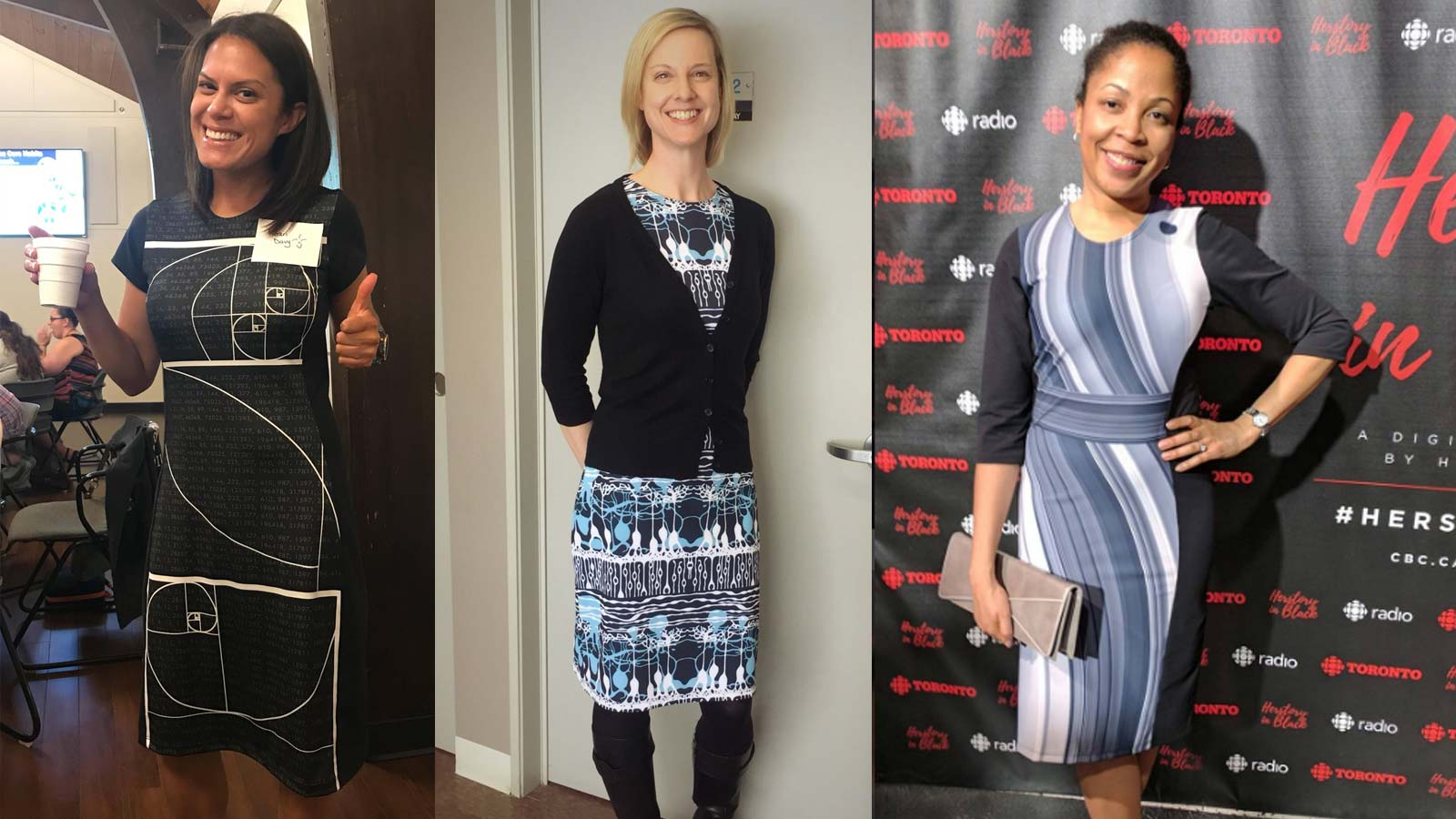 Women in STEM wearing science dresses from Shenova Fashion