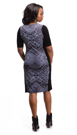 Black Circuitry Print Dress Sleeves Back