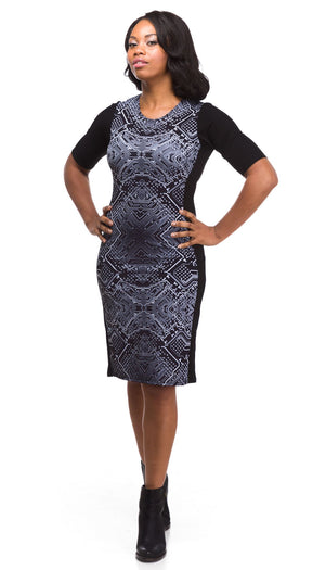 Black Circuit Print Dress Sleeves Front