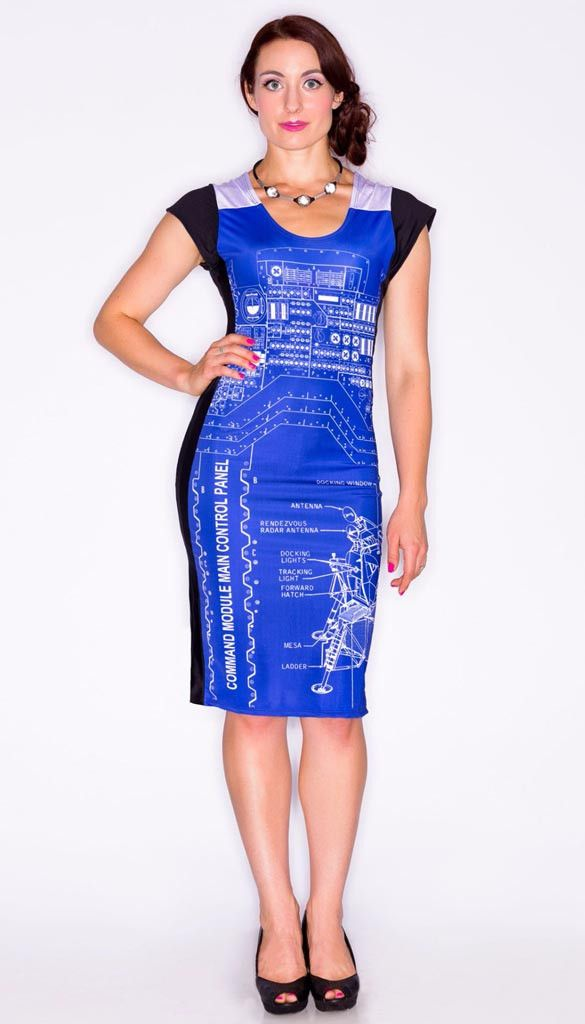 blueprint rocket nasa engineer blue dress front