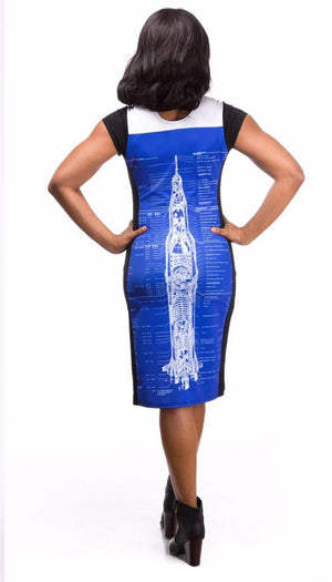 blueprint rocket scientist saturn v blue dress back