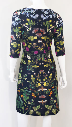 Botanical Print Science Merian Black Dress Back