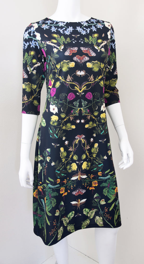 Botanical Print Science Merian Black Dress Front