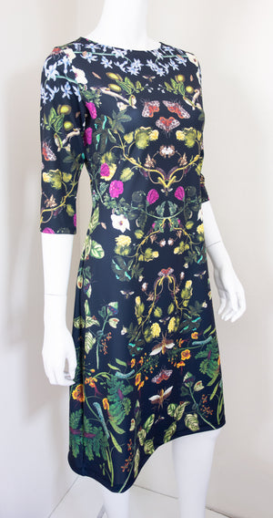 Botanical Print Science Merian Black Dress Side