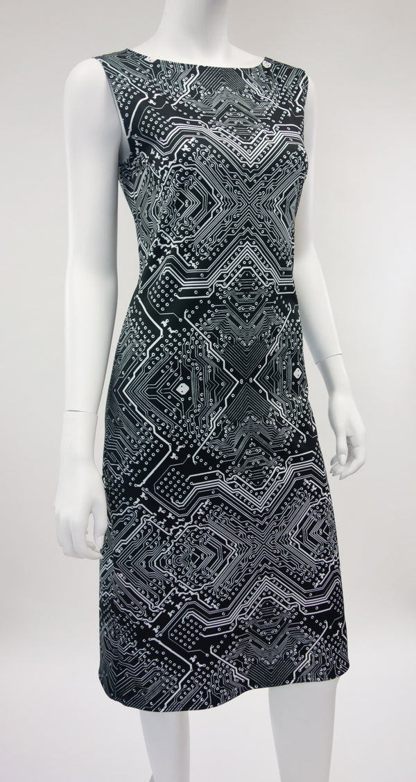 Black Circuitry Technology Print Dress Front