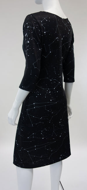 Constellation Print Dress Black Back