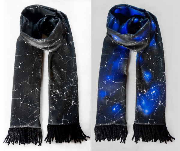 Light Up Fleece Scarf Black Constellation Print