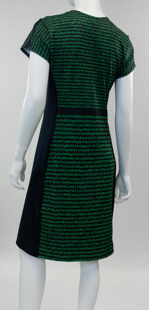 tech stem dress back encryption print
