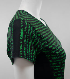 encryption print dress detail
