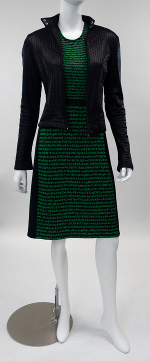 cyberpunk encryption dress front with biker jacket