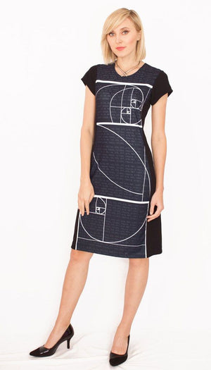 Fibonacci Sequence Black Dress Front