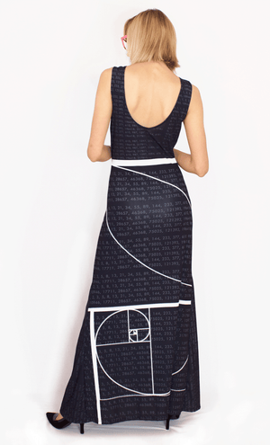 Fibonacci Maxi Gala Gown Black Back