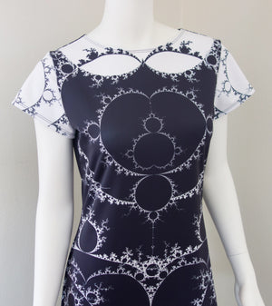 Fractal Math Mandelbrot Dress Black Closeup