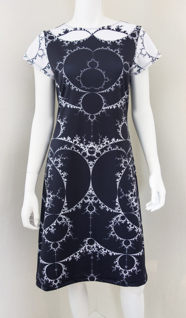 Fractal Math Art Mandelbrot Dress Black Front