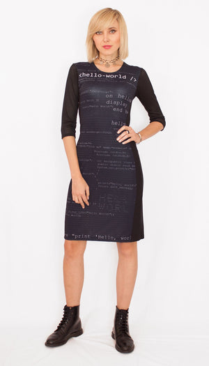 Software Engineer Computer Code Black Dress Front