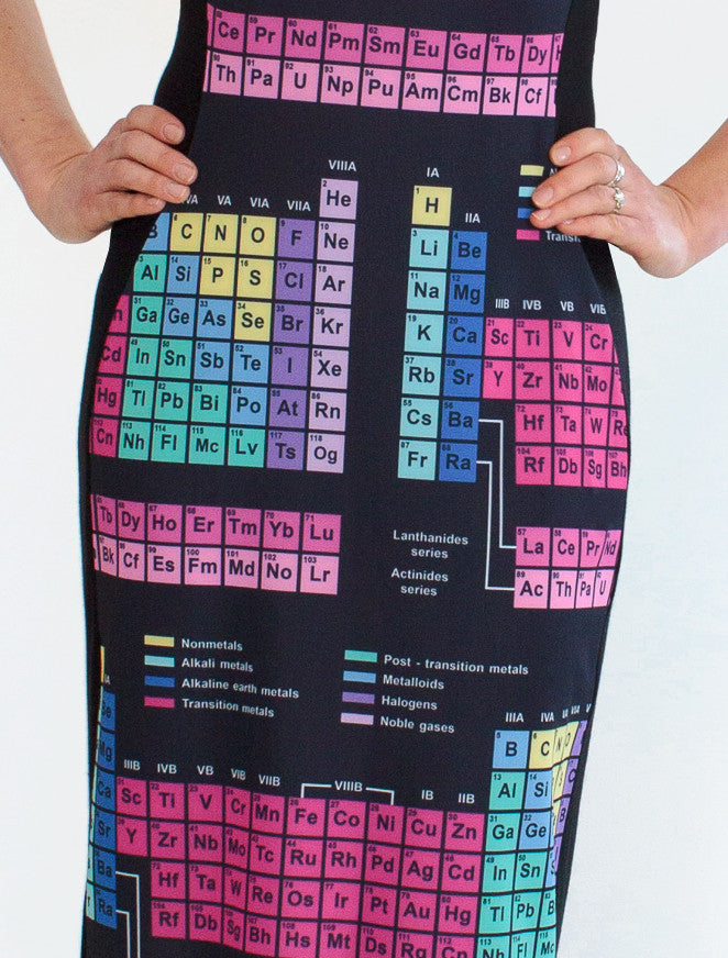 periodic table elements dress closeup - Periodic Table Fabric
