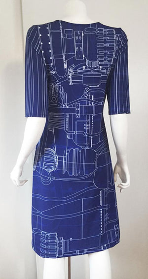 Engineering Blueprint Dress back blue