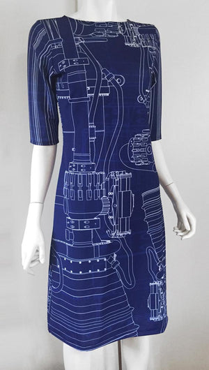 Rocket Engineer Blueprint dress front