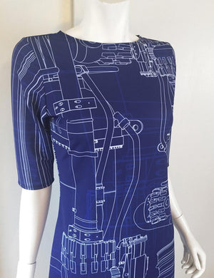 Blue Blueprint Engineering Rocket Dress