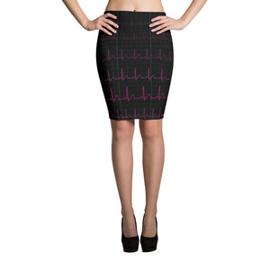 EKG Heartbeat Pencil Skirt Front