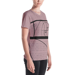 Fibonacci Pink Women's V-Neck T-Shirt