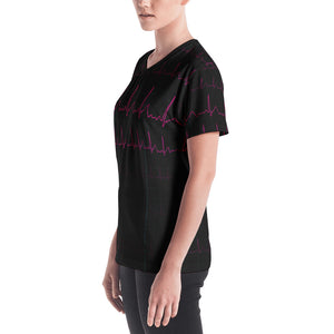 EKG Heartbeat Women's V-Neck T-Shirt
