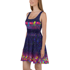 Brainbow Neuroscientist Purple Skater Dress