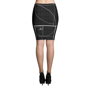 Black Fibonacci Sequence Skirt Back