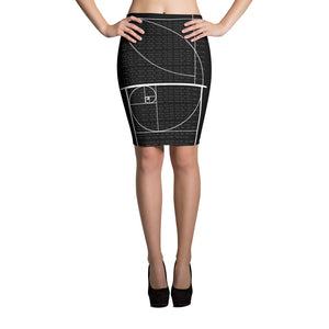 Black Fibonacci Sequence Skirt Front