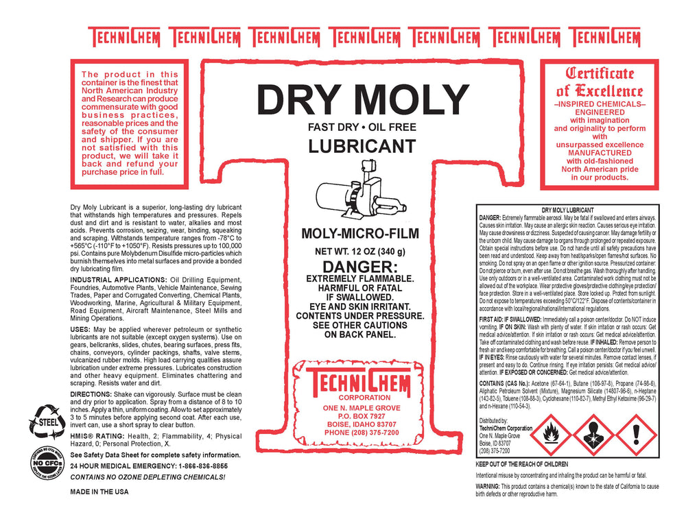 DRY MOLY, Fast-Drying Oil-Free Lubricant Spray