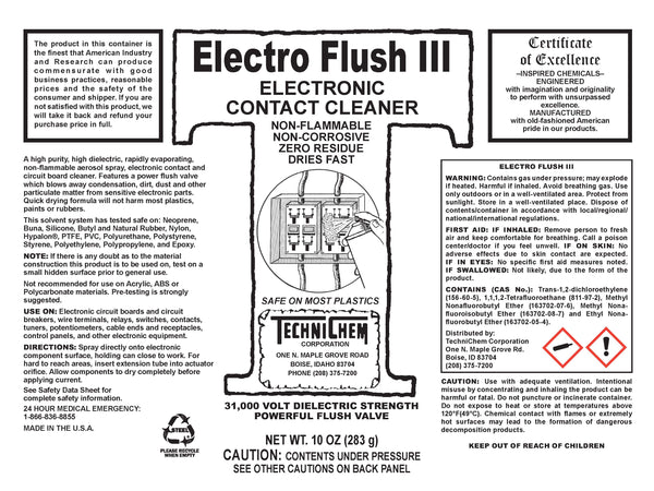 ELECTRO FLUSH III, Electronic Contact Cleaner and Degreaser