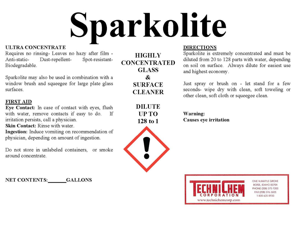 SPARKOLITE, Glass Cleaner Concentrate