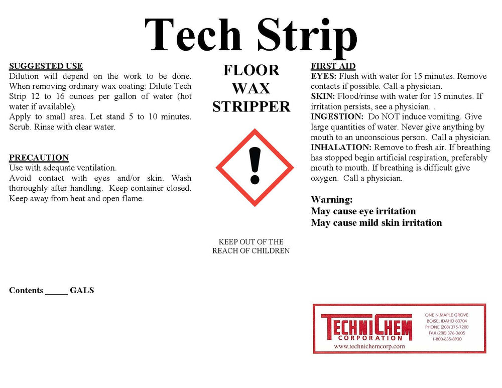 TECH STRIP, Floor Wax Stripper