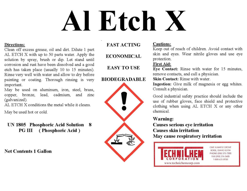 AL ETCH X, Heavy-Duty Cleaner and Paint Prep for Steel