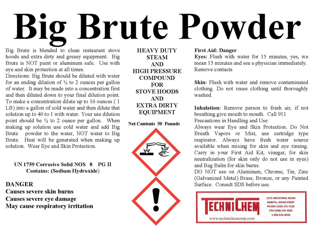 BIG BRUTE POWDER, Hood Cleaner