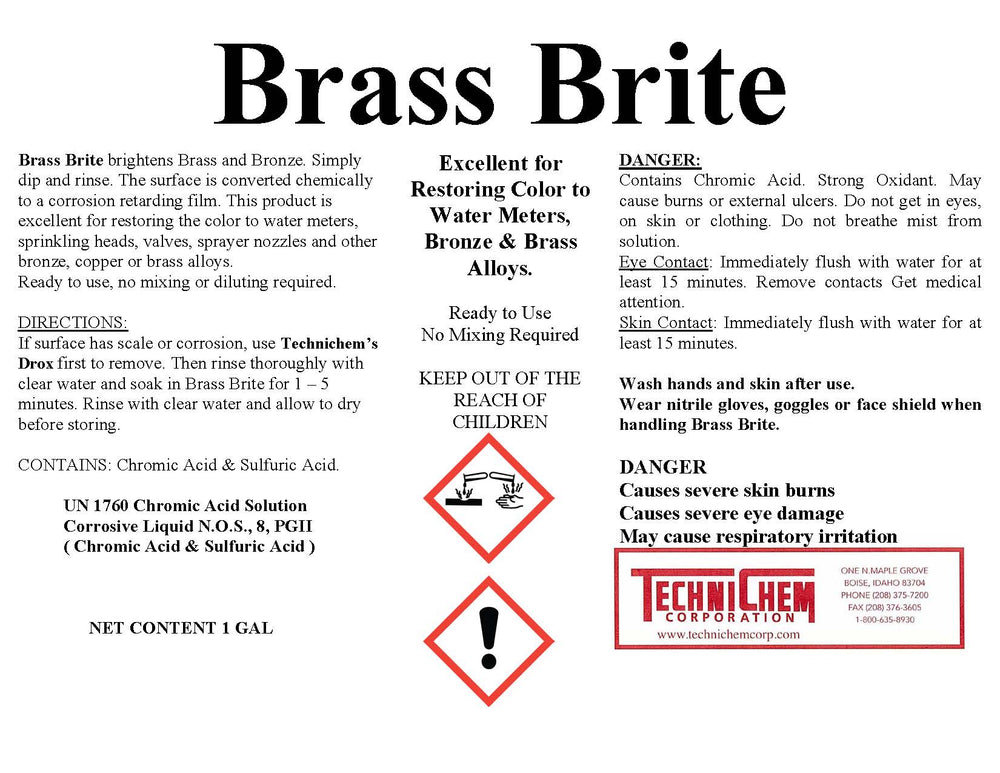 BRASS BRITE, Brass and Bronze Cleaner