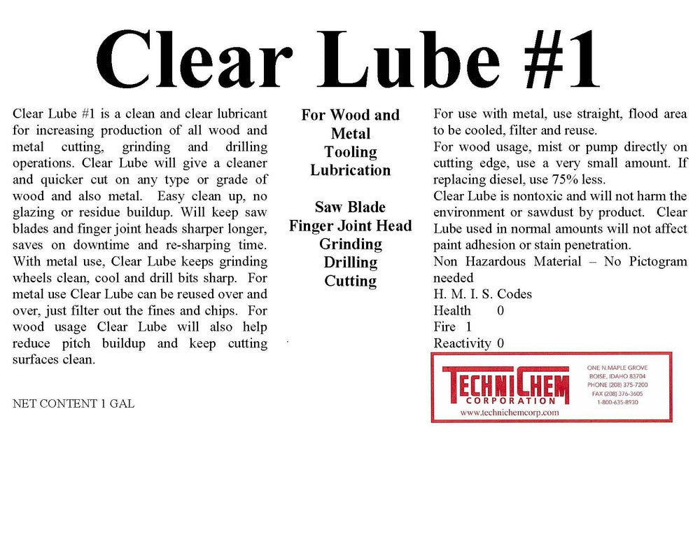 CLEAR LUBE #1, Lubricant