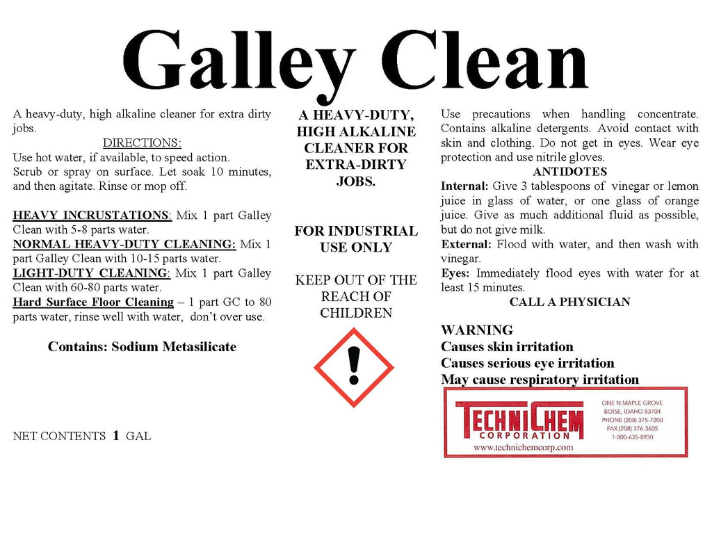 Galley Clean Floor Degreaser Cleaner Technichem Corporation