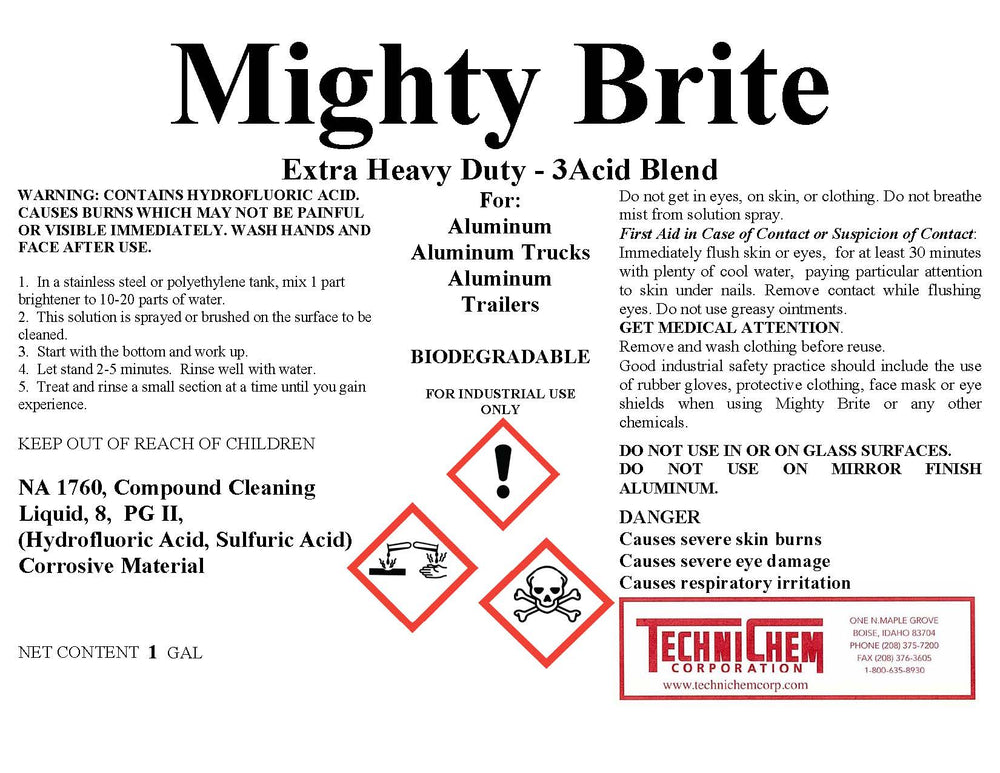 MIGHTY BRITE, 3 Acid Blend, Aluminum Brightener
