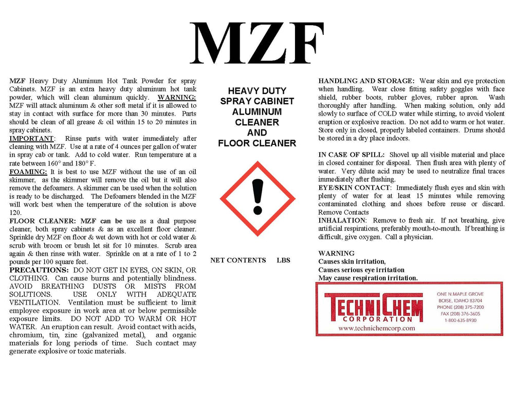 MZF, Aluminum and Cast, Spray Cabinet Detergent