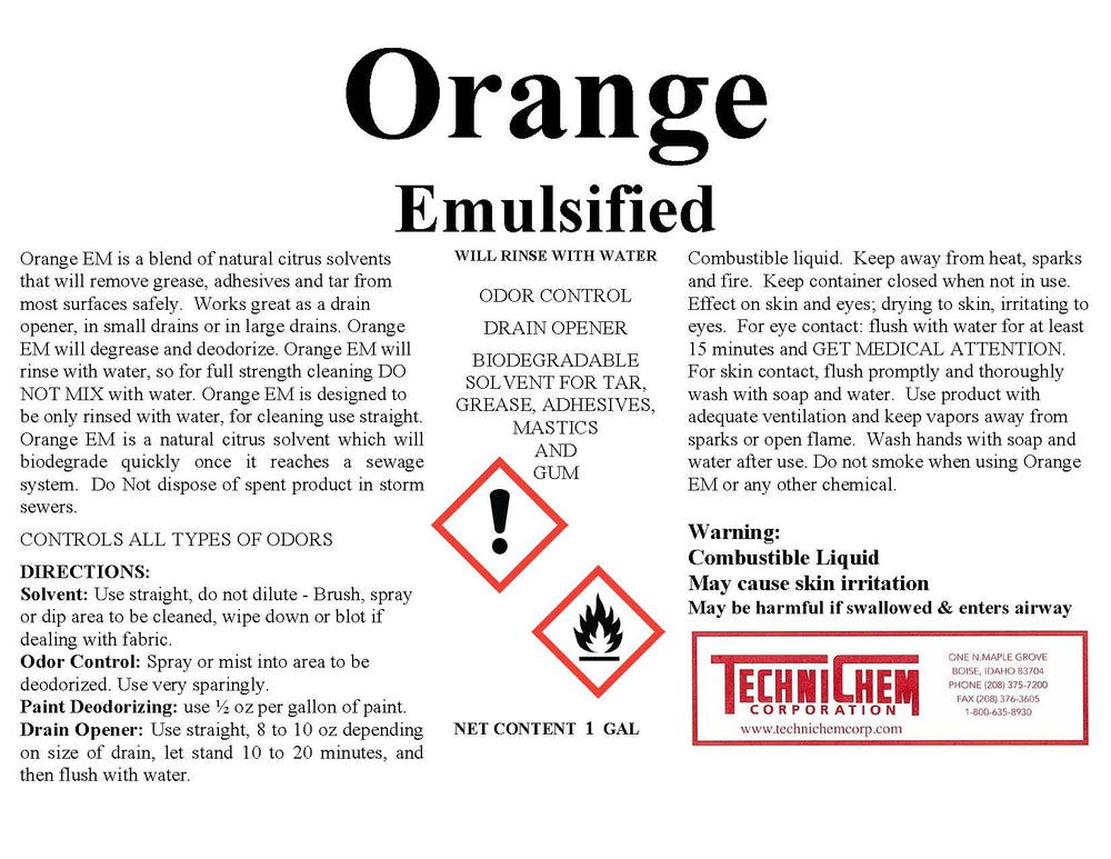 ORANGE EMULSIFIED, Citrus Solvent