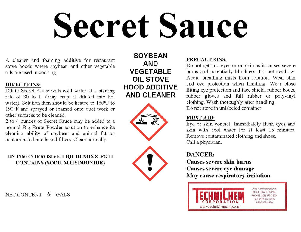 SECRET SAUCE, Commercial Hood Cleaner