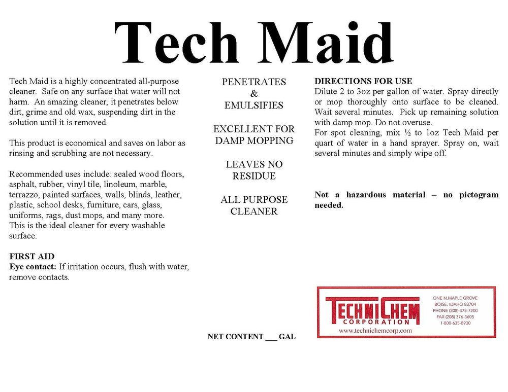TECH MAID, Floor Cleaner