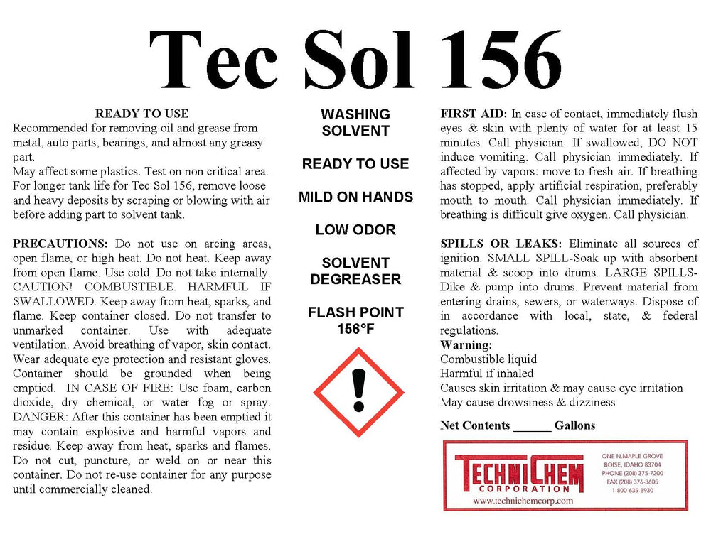 TEC SOL 156, Parts Washer Solvent