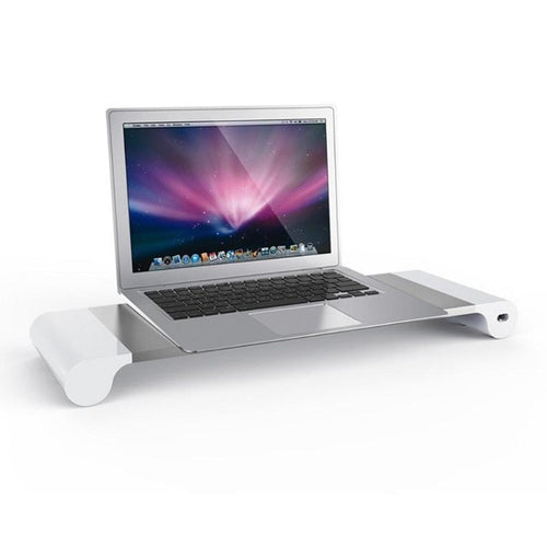 EU Plug Aluminum Alloy Laptop Monitor Stand Space Bar Dock Desk Riser with 4 USB Ports for iMac MacBook Computer Laptop Gadgets