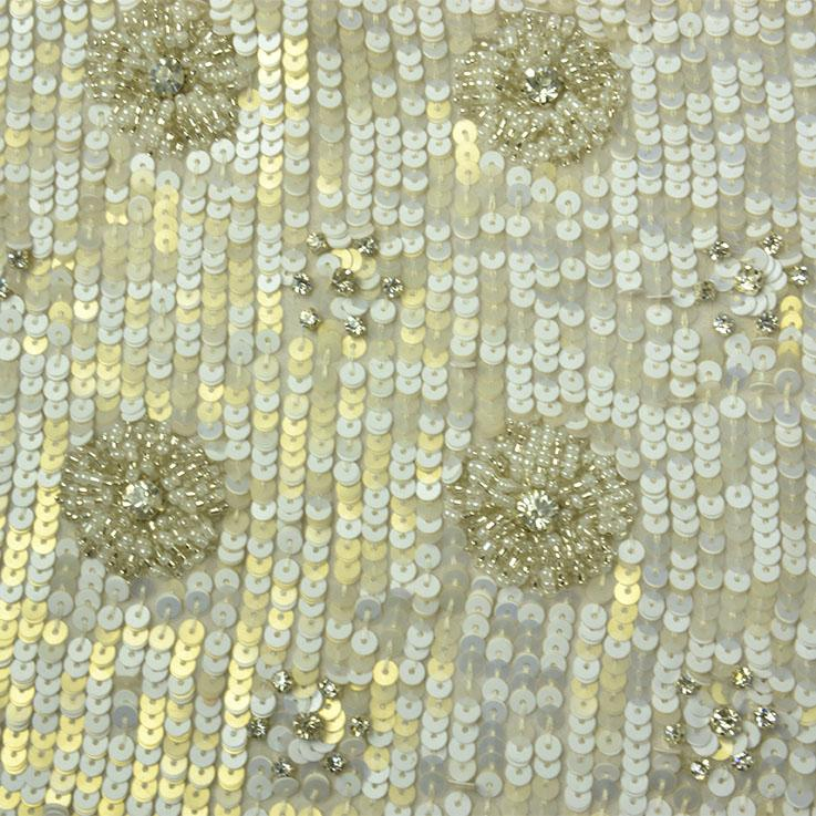 White Gold Sequins Pattern Silk Georgette