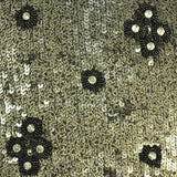 Black and Gold Floral Sequins Pattern Silk Georgette