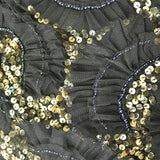Gold Sequins with Ruffles Silk Georgette